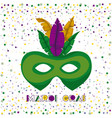 mardi gras poster with green carnival mask vector image vector image