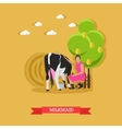 Milkmaid milking a cow design vector image vector image