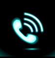neon phone blue handset icon pictogram vector image vector image