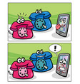 old phones and smart phone comics vector image vector image