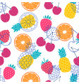 pattern with colorful fruits vector image vector image