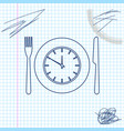 plate with clock fork and knife line sketch icon vector image
