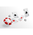 playing cards chips and dice flying casino vector image