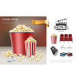 realistic cinema and movie composition vector image vector image