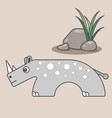 rhinoceros cartoon style art for kids vector image