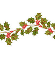 seamless pattern with holly branches and berries vector image