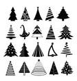 set christmas trees vector image