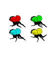 set silhouettes of cute girly fairies with vector image vector image