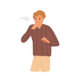 shocked guy closed mouth hand with surprised vector image