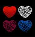sketched set of hearts vector image vector image