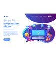 smarttv content concept landing page vector image vector image