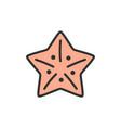 starfish sea creatures flat color line vector image vector image