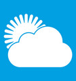 sun and cloud icon white vector image