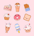 sweet food kawaii cute face set ice cream vector image vector image