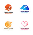 travel agent logo with plane symbol vector image vector image