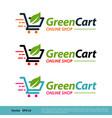trolley cart green leaf icon logo template design
