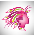 Beautiful stylized profile woman with floral hair vector image