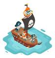 isometric pirate ship crew buccaneer filibuster vector image