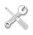 contour with screwdriver phillips and wrench vector image