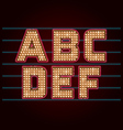 Retro Light Bulb Font from A to F vector image