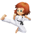 A brave young lady doing karate vector image vector image