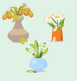 A vase with three flowers lilies daisies leaves vector image vector image