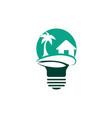 abstract bulb lamp with beach house logo design