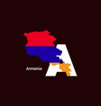 armenia initial letter country with map and flag vector image