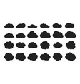 black cloud shapes cloud silhouettes icons vector image