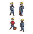 businessman cartoon icons set vector image vector image