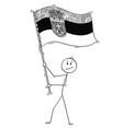 cartoon of man waving the flag of republic vector image vector image