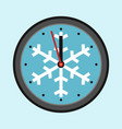 christmas clock with snowflake vector image vector image