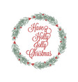 christmas wreath hand drawn for greeting cards vector image vector image