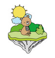 color nice bear seated in the float island vector image vector image