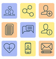 communication icons set with information share vector image