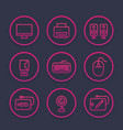 computer peripherals line icons set vector image