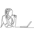 continuous line woman thinking and bitting a pen vector image