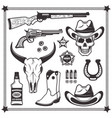 cowboy and western attributes black objects vector image