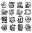 craft beer brewery and festivals sketch icons set vector image