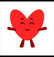 cute heart cartoon happy character white vector image vector image