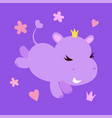 cute smiling hippo character vector image vector image