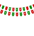 Decorative flags on greeting card happy Christmas vector image vector image