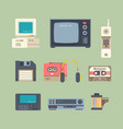different 90s gadgets flat vector image