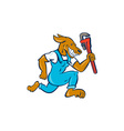 Dog Plumber Running Monkey Wrench Cartoon vector image vector image