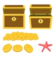 Dower chest isolated cartoon icons and pile of vector image
