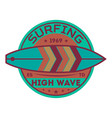 extreme high wave surfing vintage label vector image vector image