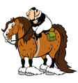 fat rider with heavy horse vector image vector image