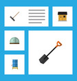 flat icon farm set of hothouse harrow container vector image vector image