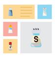 flat icon salt set of salt spicy saltshaker and vector image vector image