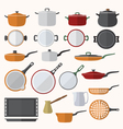 flat various tableware set vector image vector image